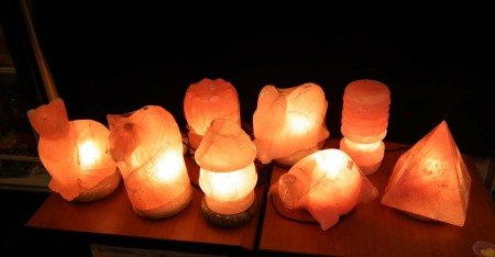 Salt Lamps on Wood Base